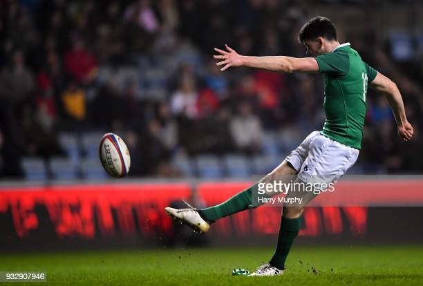 London United Kingdom 16 March 2018 Harry Byrne of Ireland kicks a conversion during the U20 Six Nations Rugby Championship match between England and...