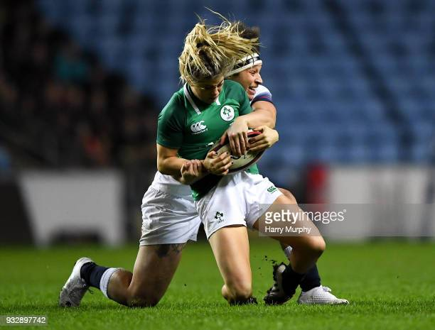 London United Kingdom 16 March 2018 Katie Fitzhenry of Ireland is tackled by Lagi Tuima of England during the Women's Six Nations Rugby Championship...