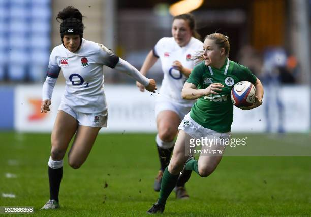 London United Kingdom 16 March 2018 Nicole Cronin of Ireland in action against Kelly Smith of England during the Women's Six Nations Rugby...