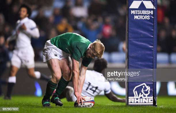 London United Kingdom 16 March 2018 Tommy O'Brien of Ireland scores his side's second try during the U20 Six Nations Rugby Championship match between...