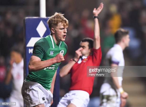 London United Kingdom 16 March 2018 Tommy O'Brien of Ireland celebrates scoring his side's second try during the U20 Six Nations Rugby Championship...