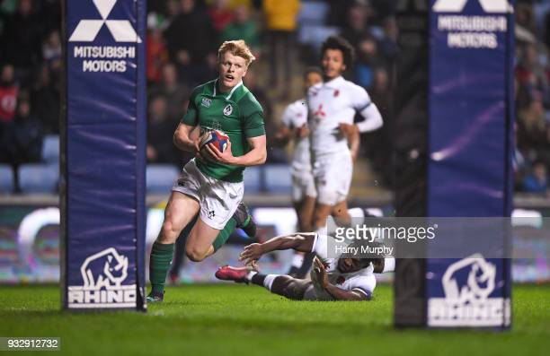 London United Kingdom 16 March 2018 Tommy O'Brien on his way to scoring his side's second try during the U20 Six Nations Rugby Championship match...