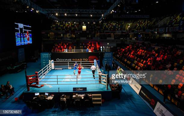 London United Kingdom 16 March 2020 A general view inside the empty arena on Day Three of the Road to Tokyo European Boxing Olympic Qualifying Event...