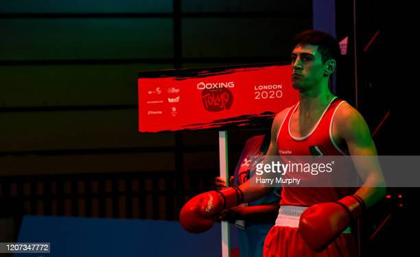 London United Kingdom 16 March 2020 Aidan Walsh of Ireland makes his way out prior to his Men's Welterweight 69KG Preliminary round bout against...