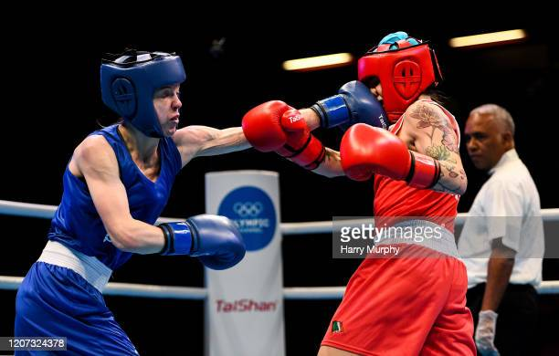 London United Kingdom 16 March 2020 Carly McNaul of Ireland right and CharleySian Davison of Great Britain during their Women's Flyweight 51KG...