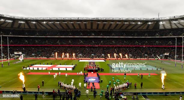 London United Kingdom 17 March 2018 A general view of Twickenham Stadium as the teams run out prior to the NatWest Six Nations Rugby Championship...