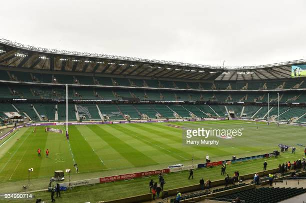 London United Kingdom 17 March 2018 A general view of Twickenham Stadium prior to the NatWest Six Nations Rugby Championship match between England...
