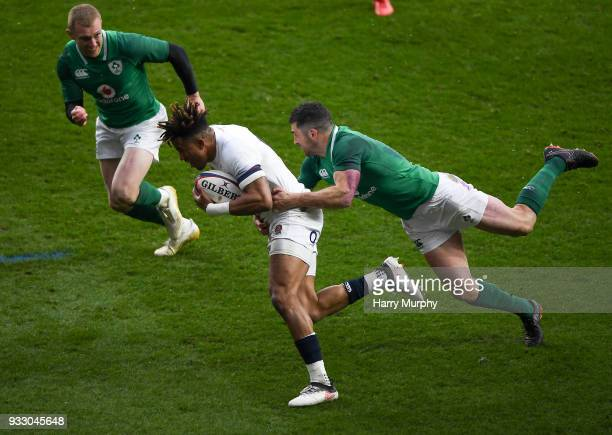 London United Kingdom 17 March 2018 Anthony Watson of England is tackled by Rob Kearney of Ireland during the NatWest Six Nations Rugby Championship...