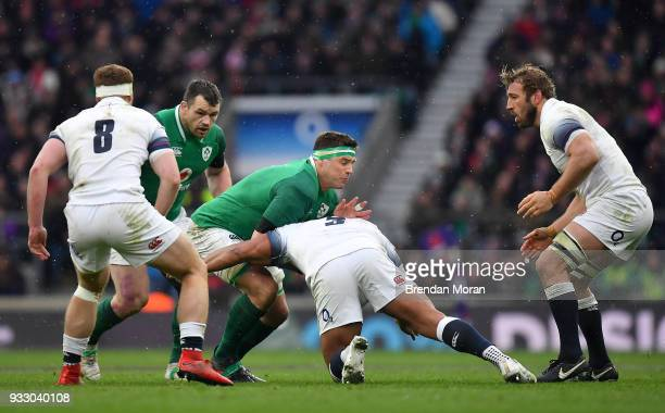 London United Kingdom 17 March 2018 CJ Stander of Ireland is tackled by Kyle Sinckler of England during the NatWest Six Nations Rugby Championship...