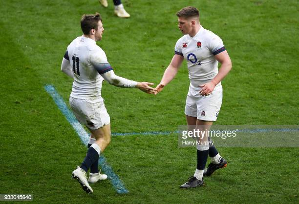 London United Kingdom 17 March 2018 Elliot Daly left of England celebrates scoring his side's first try with Owen Farrell during the NatWest Six...
