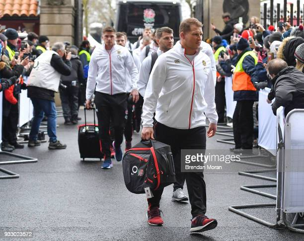 London United Kingdom 17 March 2018 England captian Dylan Hartley arrives prior to the NatWest Six Nations Rugby Championship match between England...