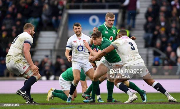 London United Kingdom 17 March 2018 Garry Ringrose of Ireland is tackled by Kyle Sinckler of England during the NatWest Six Nations Rugby...