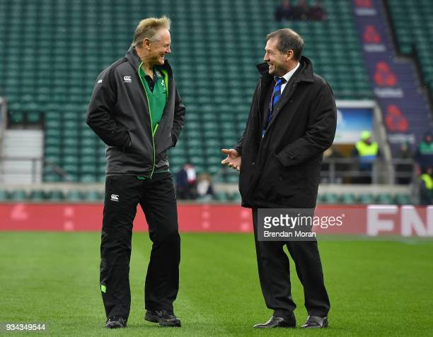 London United Kingdom 17 March 2018 Ireland head coach Joe Schmidt left with World Rugby High Performance Match Official Manager Alain Rolland prior...