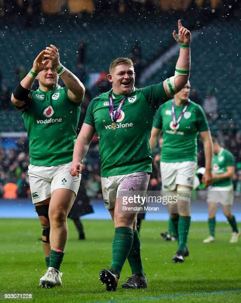 London United Kingdom 17 March 2018 Ireland players Andrew Porter left and Tadhg Furlong celebrate after the NatWest Six Nations Rugby Championship...