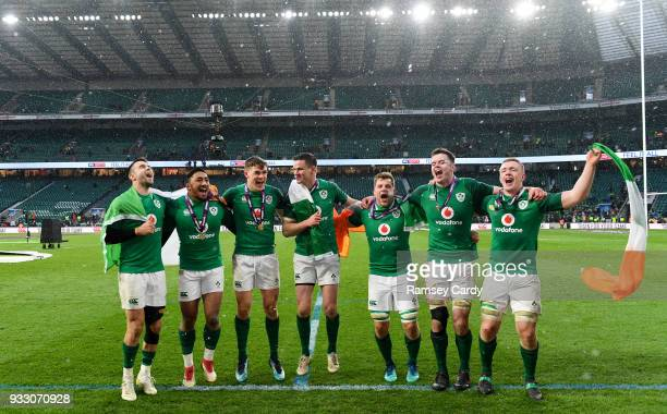 London United Kingdom 17 March 2018 Ireland players from left Conor Murray Bundee Aki Garry Ringrose Jonathan Sexton Jordi Murphy James Ryan and Dan...