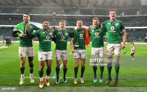 London United Kingdom 17 March 2018 Ireland players from left Conor Murray Bundee Aki Garry Ringrose Jonathan Sexton Jordi Murphy and James Ryan...