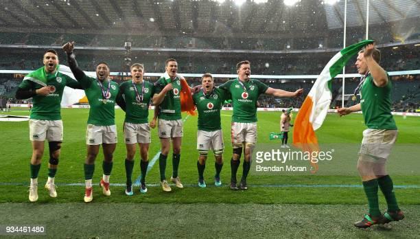 London United Kingdom 17 March 2018 Ireland players from left Conor Murray Bundee Aki Garry Ringrose Jonathan Sexton Jordi Murphy James Ryan and Dan...