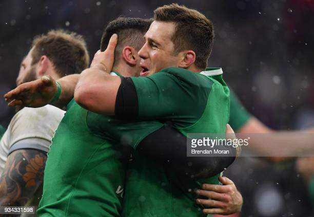 London United Kingdom 17 March 2018 Jacob Stockdale left and CJ Stander of Ireland celebrate after the NatWest Six Nations Rugby Championship match...