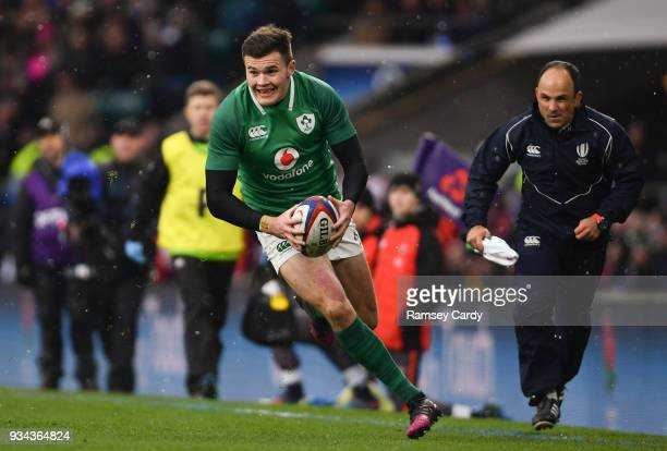 London United Kingdom 17 March 2018 Jacob Stockdale of Ireland during the NatWest Six Nations Rugby Championship match between England and Ireland at...