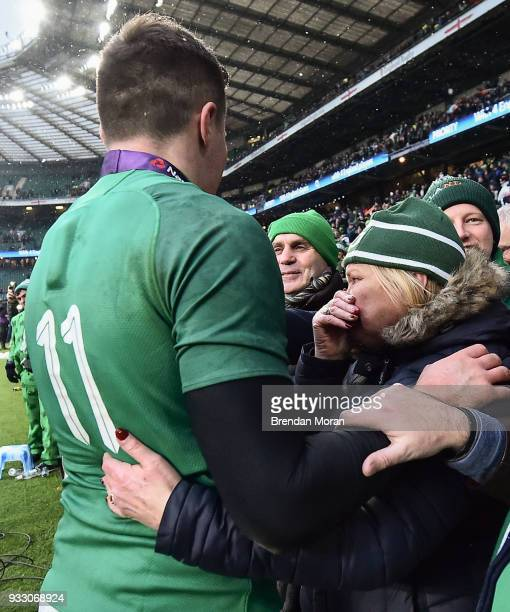 London United Kingdom 17 March 2018 Jacob Stockdale of Ireland celebrates with his parents Rev Graham and Janine Stockdale after the NatWest Six...