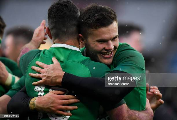 London United Kingdom 17 March 2018 Jacob Stockdale right and teammate Rob Keaney of Ireland celebrate after the NatWest Six Nations Rugby...