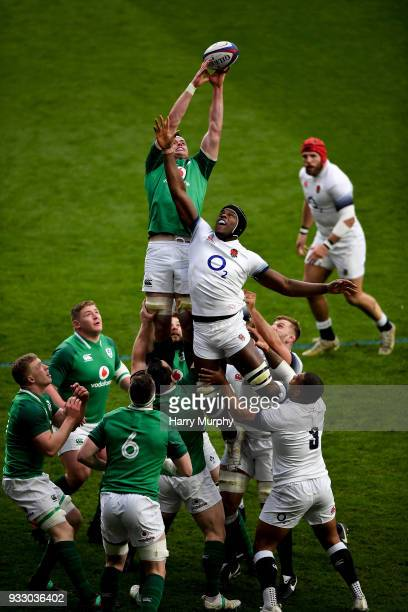 London United Kingdom 17 March 2018 James Ryan of Ireland wins the ball in a lineout ahead of Maro Itoje of England during the NatWest Six Nations...