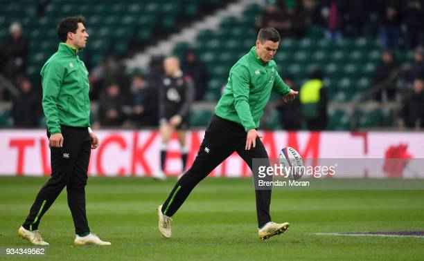 London United Kingdom 17 March 2018 Joey Carbery left and Jonathan Sexton of Ireland prior to the NatWest Six Nations Rugby Championship match...