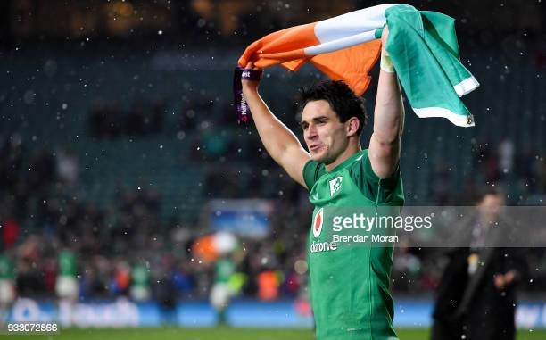 London United Kingdom 17 March 2018 Joey Carbery of Ireland celebrates after the NatWest Six Nations Rugby Championship match between England and...