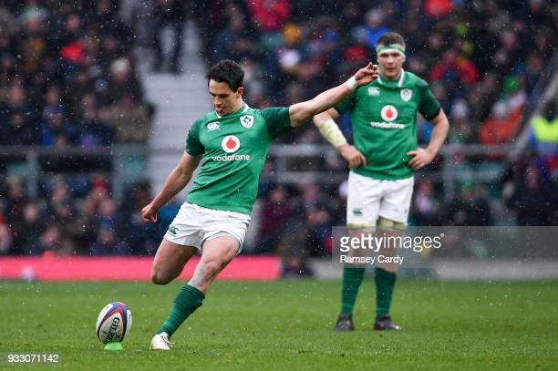 London United Kingdom 17 March 2018 Joey Carbery of Ireland kicks a penalty during the NatWest Six Nations Rugby Championship match between England...