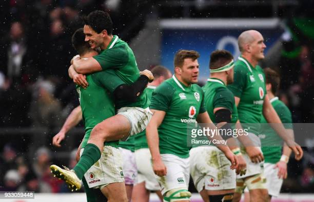 London United Kingdom 17 March 2018 Joey Carbery of Ireland celebrates with Conor Murray following the NatWest Six Nations Rugby Championship match...