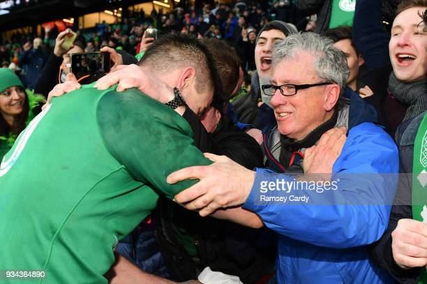 London United Kingdom 17 March 2018 Jonathan Sexton of Ireland and his Godfather Billy Keane following the NatWest Six Nations Rugby Championship...