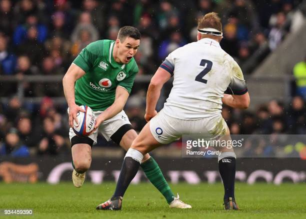 London United Kingdom 17 March 2018 Jonathan Sexton of Ireland in action against Dylan Hartley of England during the NatWest Six Nations Rugby...