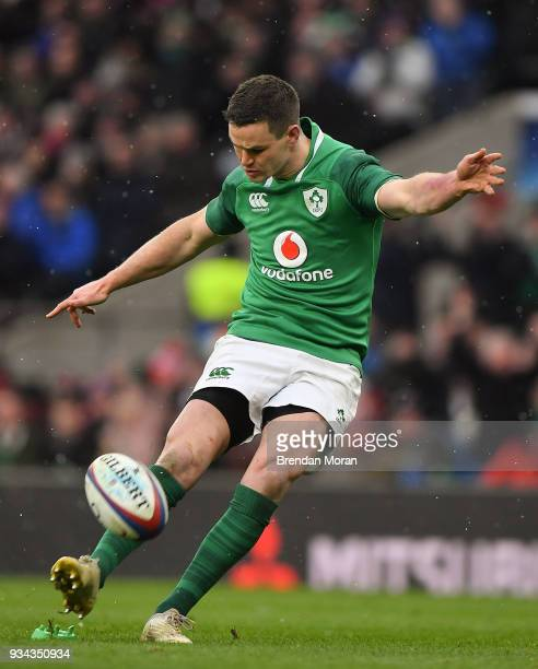 London United Kingdom 17 March 2018 Jonathan Sexton of Ireland kicks a conversion during the NatWest Six Nations Rugby Championship match between...