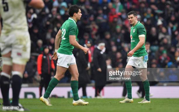 London United Kingdom 17 March 2018 Jonathan Sexton of Ireland leaves the field after being replaced by Joey Carbery of Ireland during the NatWest...