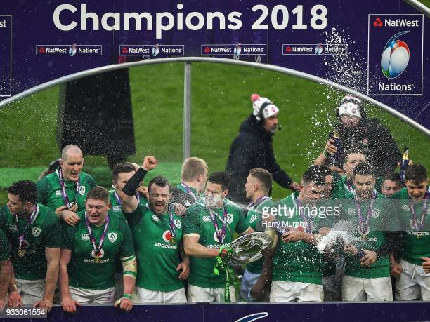 London United Kingdom 17 March 2018 Jonathan Sexton of Ireland lifts the Triple Crown Shield during the NatWest Six Nations Rugby Championship match...