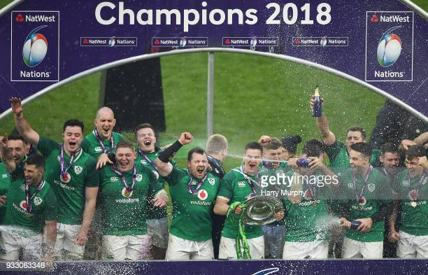 London United Kingdom 17 March 2018 Jonathan Sexton of Ireland lifts the Triple Crown Shield after the NatWest Six Nations Rugby Championship match...