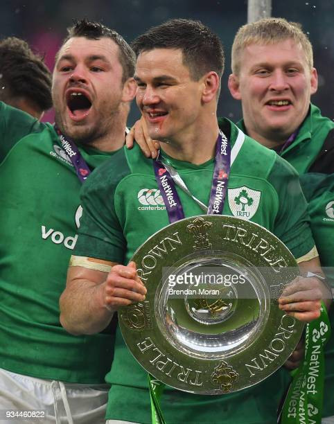 London United Kingdom 17 March 2018 Jonathan Sexton of Ireland with the Triple Crown trophy after the NatWest Six Nations Rugby Championship match...