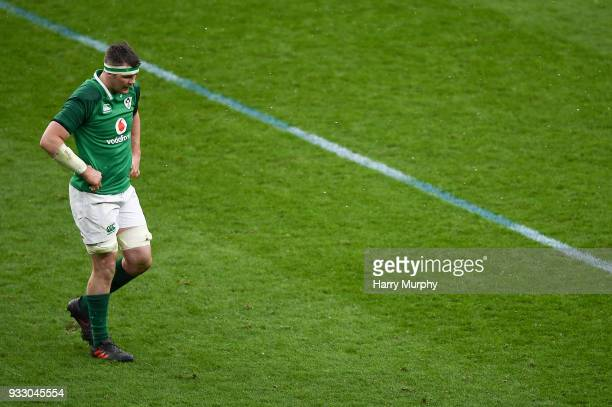 London United Kingdom 17 March 2018 Peter OMahony of Ireland walks off after recieving a yellow card during the NatWest Six Nations Rugby...