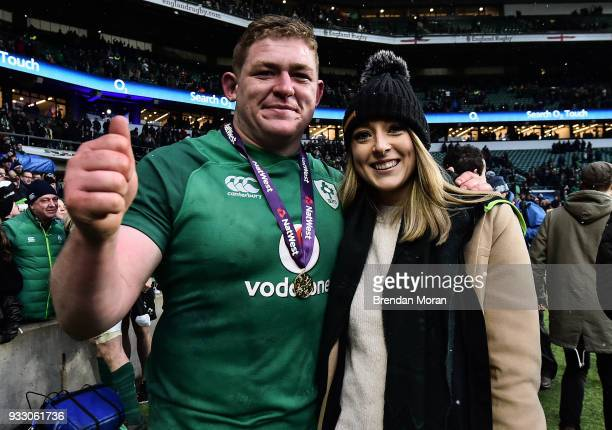 London United Kingdom 17 March 2018 Tadhg Furlong of Ireland and Aine Lacey celebrate after the NatWest Six Nations Rugby Championship match between...