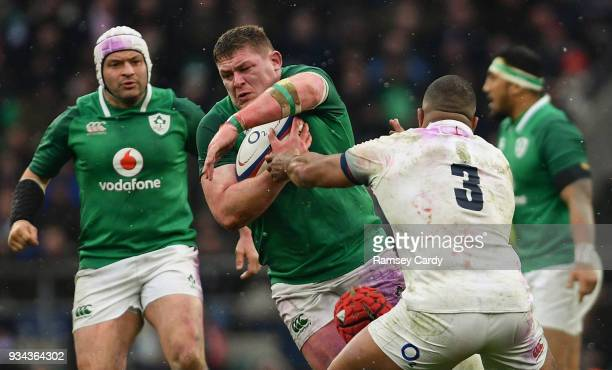 London United Kingdom 17 March 2018 Tadhg Furlong of Ireland is tackled by James Haskell and Kyle Sinckler of England during the NatWest Six Nations...