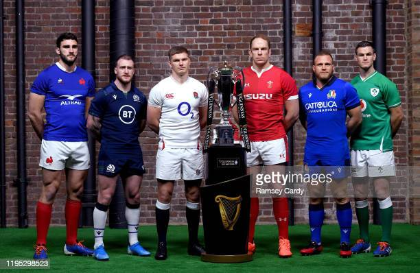 London , United Kingdom - 22 January 2020; Captains, from, left Charles Ollivon of France, Stuart Hogg of Scotland, Owen Farrell of England, Alun Wyn...