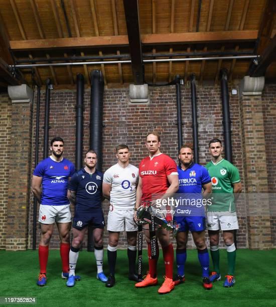 London , United Kingdom - 22 January 2020; Captains, from left, Charles Ollivon of France, Stuart Hogg of Scotland, Owen Farrell of England, Alun Wyn...