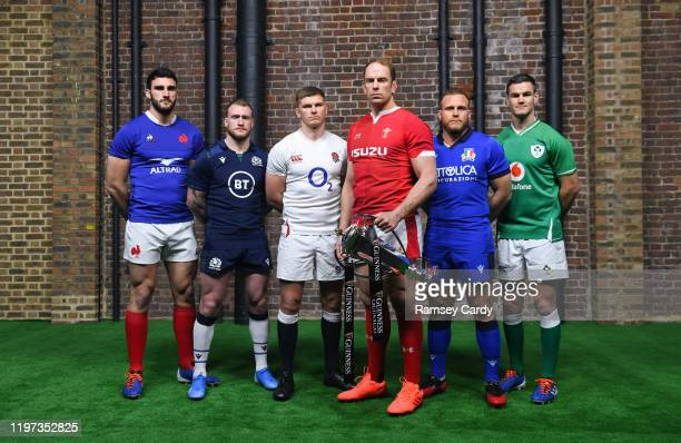 London United Kingdom 22 January 2020 Captains from left Charles Ollivon of France Stuart Hogg of Scotland Owen Farrell of England Alun Wyn Jones of...