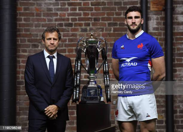 London , United Kingdom - 22 January 2020; France head coach Fabien Galthié and captain Charles Ollivon during the Guinness Six Nations Rugby...
