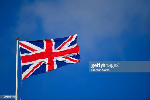 London United Kingdom 23 February 2020 A Union Jack is seen flying above the stadium prior to the Guinness Six Nations Rugby Championship match...