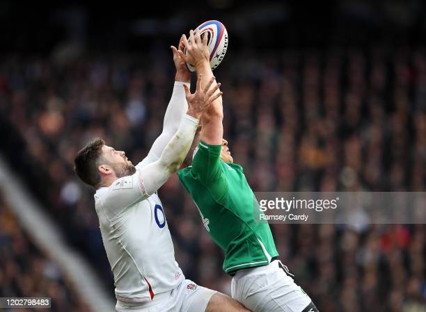 London United Kingdom 23 February 2020 Andrew Conway of Ireland in action against Elliot Daly of England during the Guinness Six Nations Rugby...