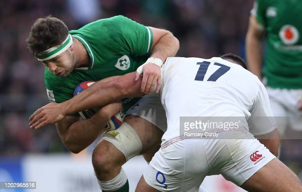 London United Kingdom 23 February 2020 Caelan Doris of Ireland in action against Ellis Genge of England during the Guinness Six Nations Rugby...