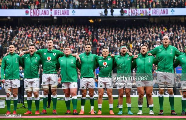 London , United Kingdom - 23 February 2020; Ireland players, from left, Jonathan Sexton, Peter O'Mahony, James Ryan, Tadhg Furlong, Conor Murray,...