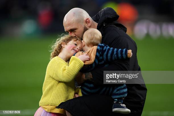 London United Kingdom 23 February 2020 Joe Marler of England with his children Maggie and Felix following during the Guinness Six Nations Rugby...