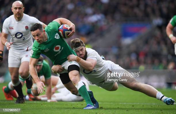 London , United Kingdom - 23 February 2020; John Cooney of Ireland in action against Luke Cowan-Dickie during the Guinness Six Nations Rugby...